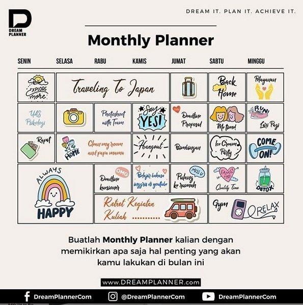Tips Membuat Monthly Planner Dalam DreamPlanner